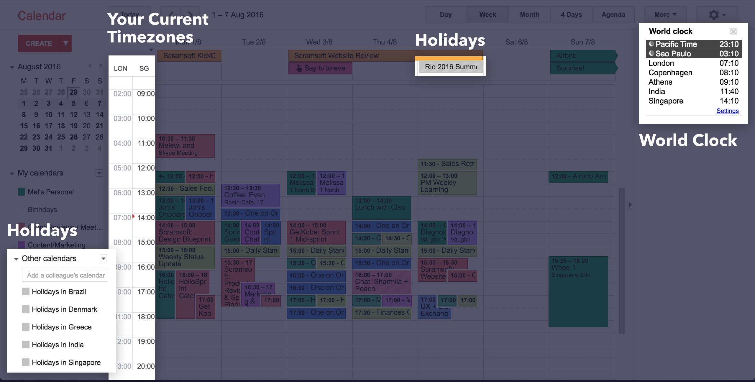 A remote worker's calendar set up