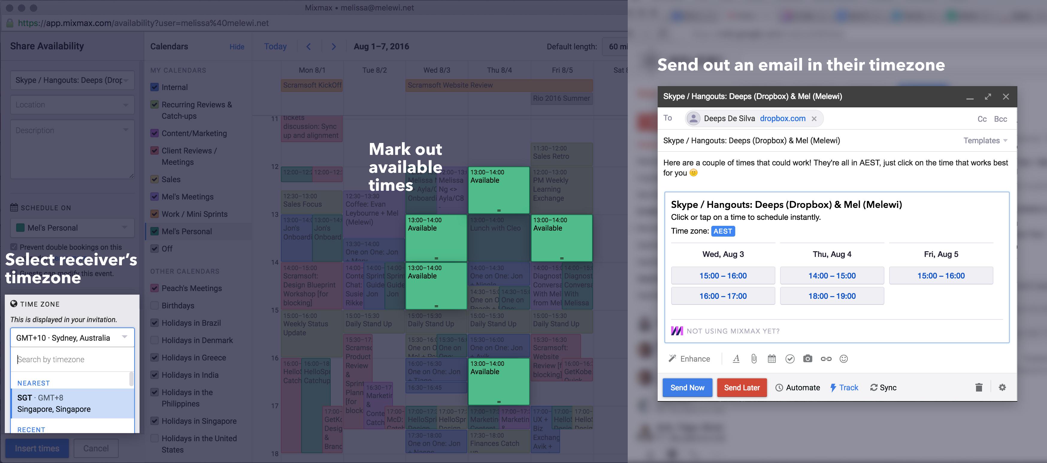 Using MixMax to schedule timezones