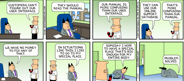 Dilbert - 4 things to think about before you create your product