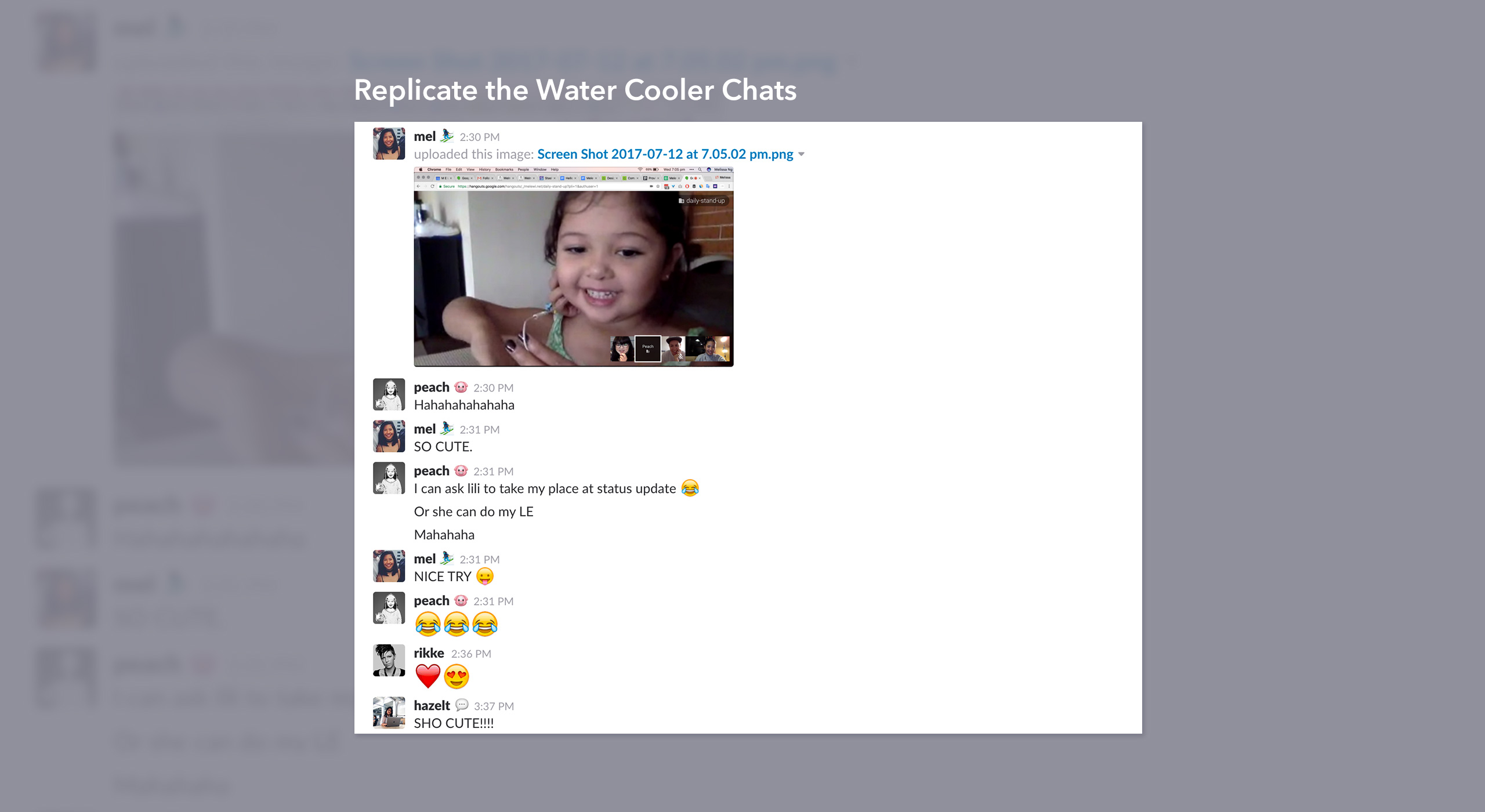 Replicate water cooler chats